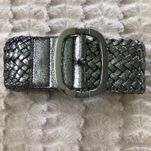 NEW Worth Silver woven leather belt